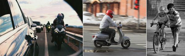 Мотоциклисты и велосипедисты