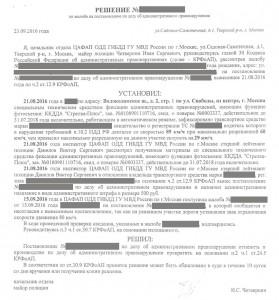 Решение по жалобе на постановление об административном правонарушении