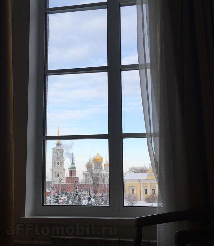 """Вид на кремль Тулы из номера гостиницы """"Армения"""""""